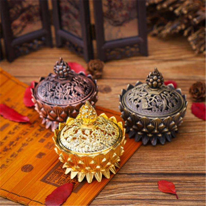 Alloy Hollow Cover Aromatherapy Furnace Lotus Shaped Incense Burners Double Dragon Ear Treasures Fill The Home Censers