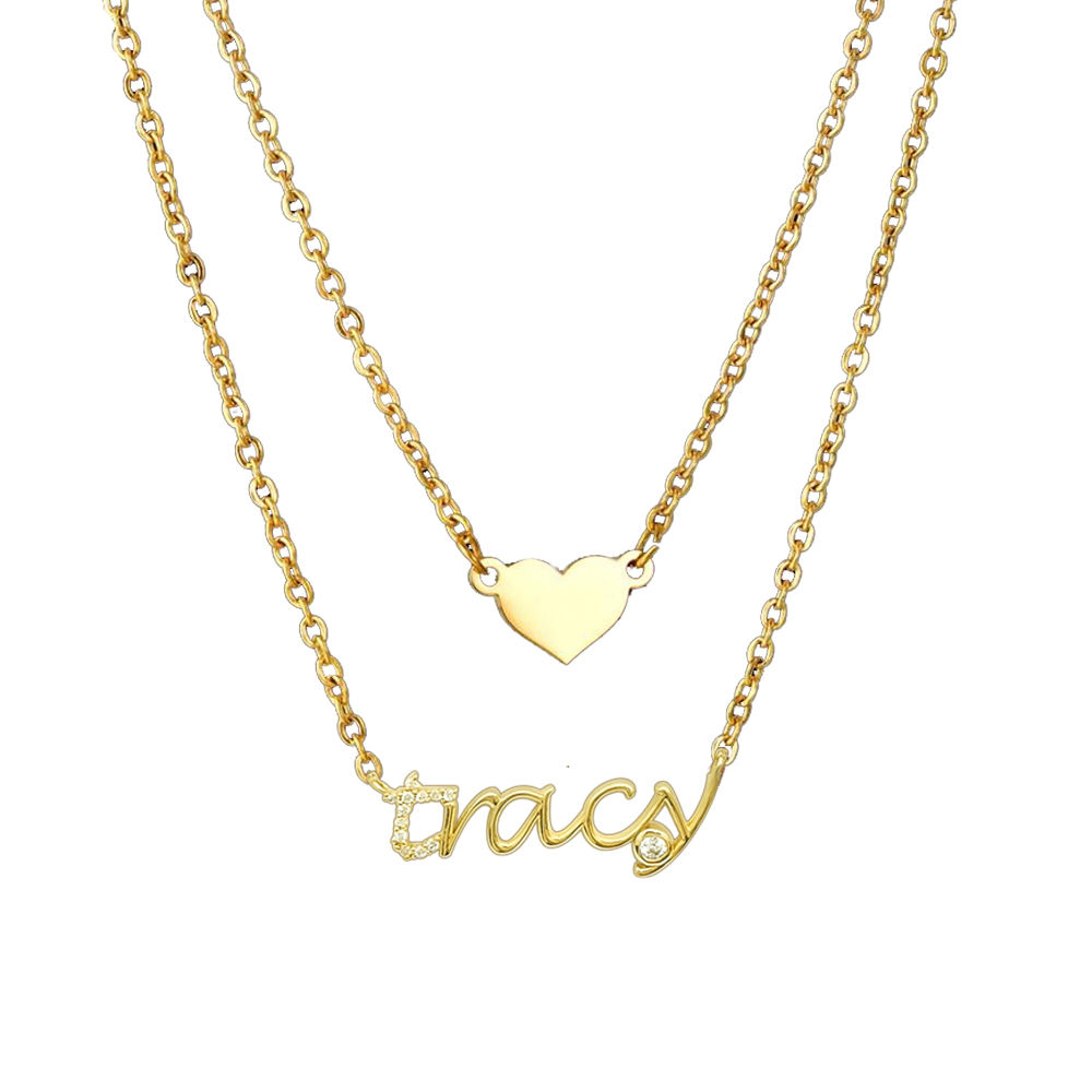 Fashion Jewelry Custom Letter Necklace Chain Custom Name Necklace Real 9K, 14K, 18 Karat Real Gold Chain