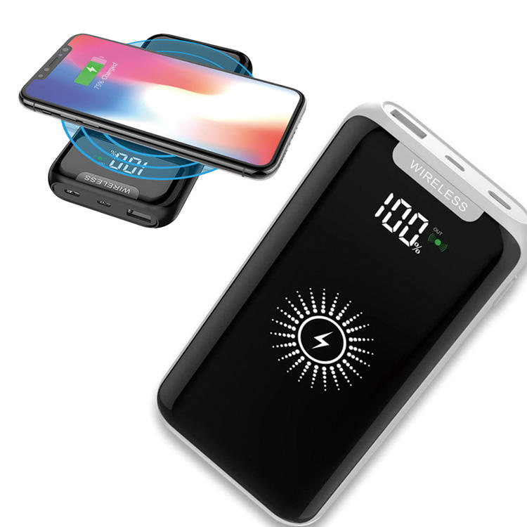 Hot-sale Qi 10000mah Wireless Charger LED Display Power bank