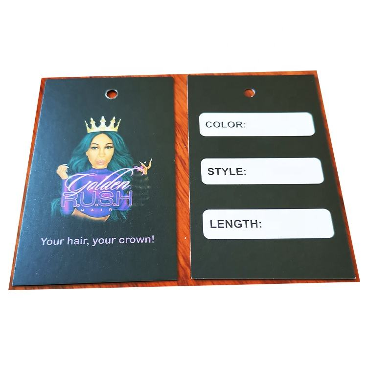 HT-83 matte lamination hair hang tags/jewelry hang tag with your logo print