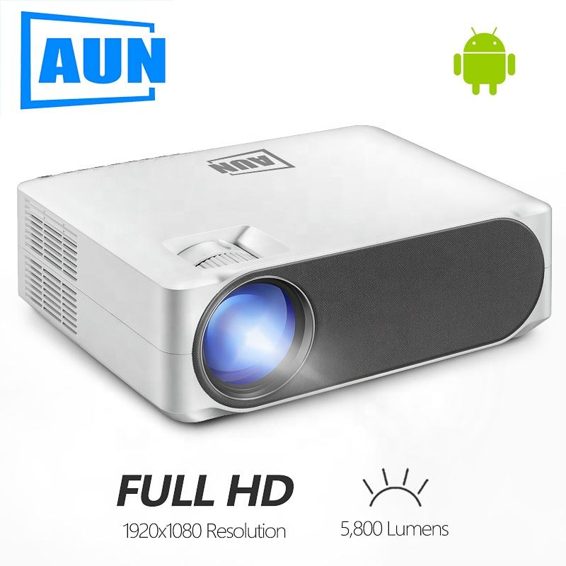 AUN Full HD Proiettore AKEY6S, 1920x1080 P, 6,800 Lumen, Android 6.0 WIFI Video Beamer, MINI Proiettore A LED per 4K 3D Home Cinema.