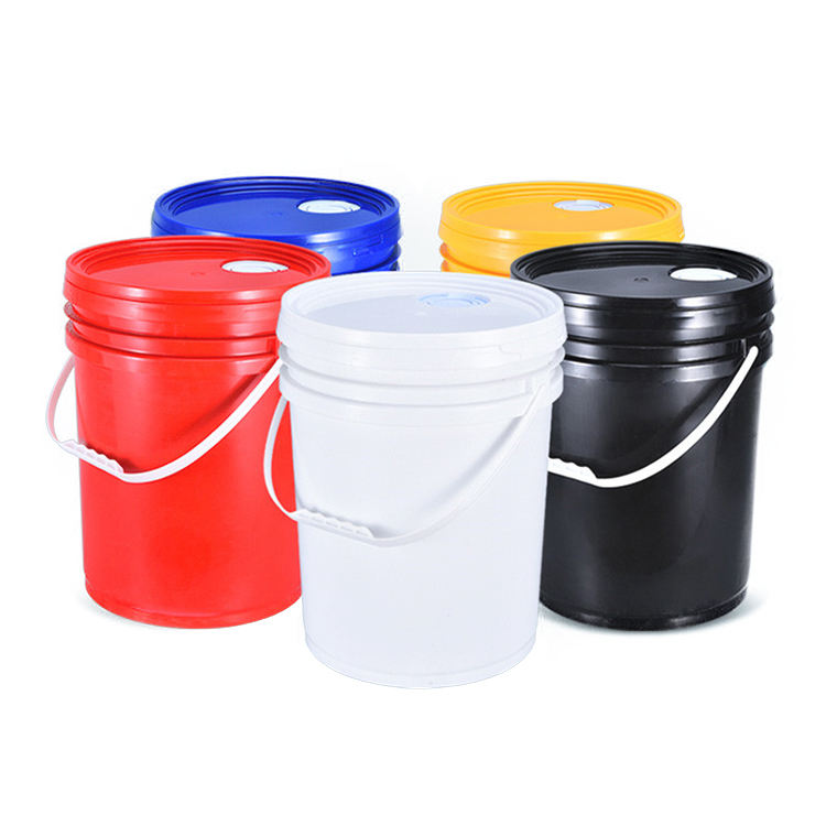 Empty 5 Gallon Plastic White Paint Bucket With Lids Handle 20 Liter Pail Barrel