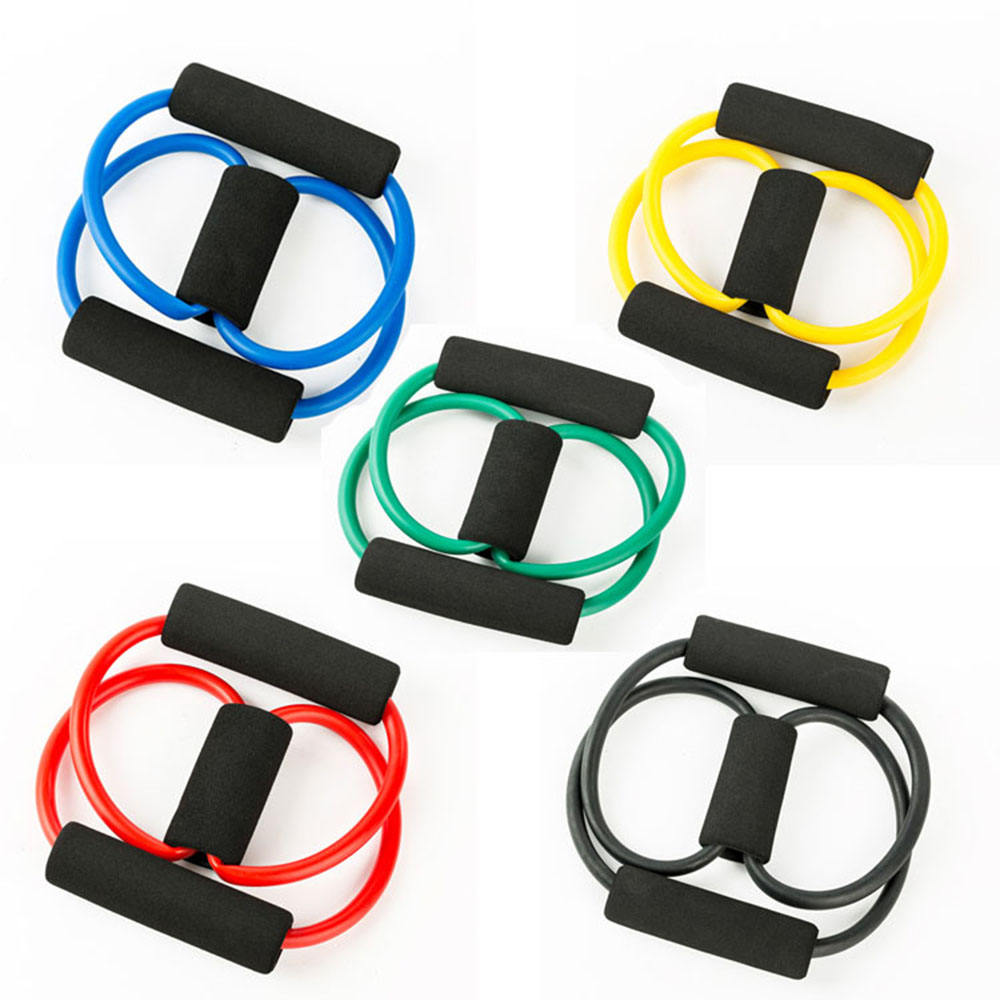 Eco-friendly Tension Training Chest Expander Exercise 8 Shaped Resistance Band Tpe Tubes Chest Ankle Figure 8 Resistance Band