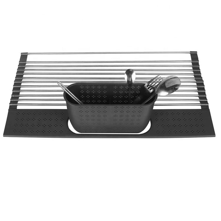 metal holder kitchen sink organizer storage rack plastic draining rack dish water shelf drying tray for utensils