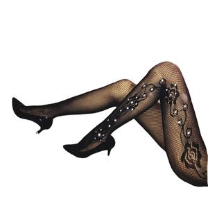 Collants femmes Sexy Jacquard fishner scintillant collants strass