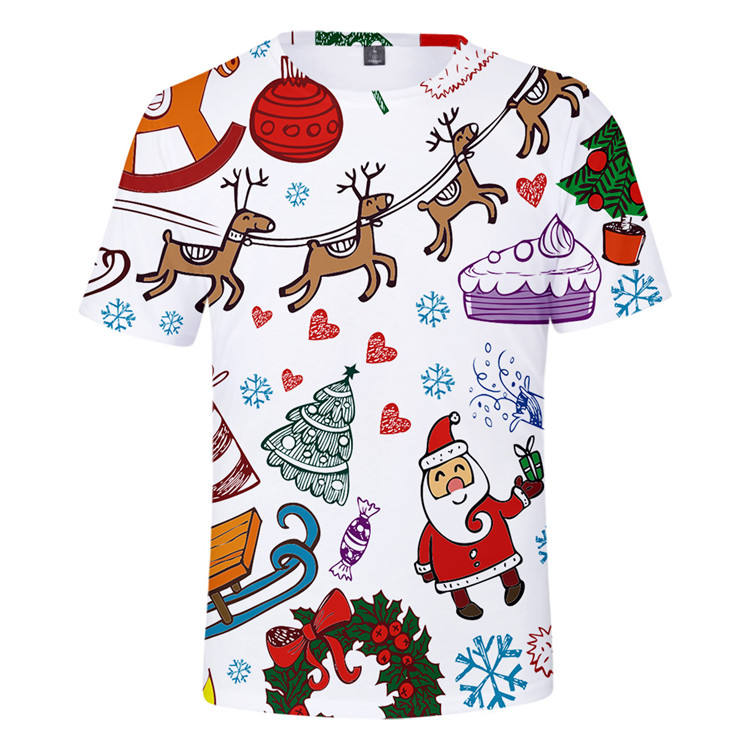 tie dye Men double sleeve christmas flashing T shirt