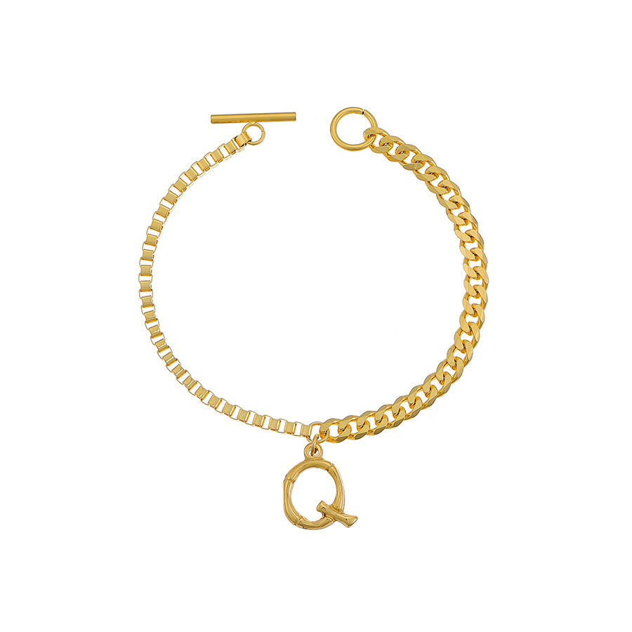 YXbracelet xuping stainless steel women fashion wholesale jewelry, 24k gold color letter charm bracelet