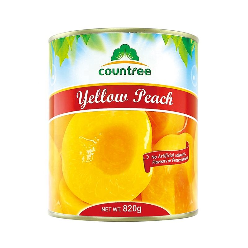 Hot selling snacks preserved canned fruits food slices canned yellow peach