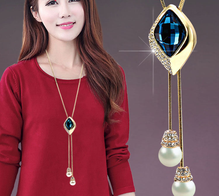 2020 Hot Sales imitation pearl long necklace big rhinestone long necklace for women