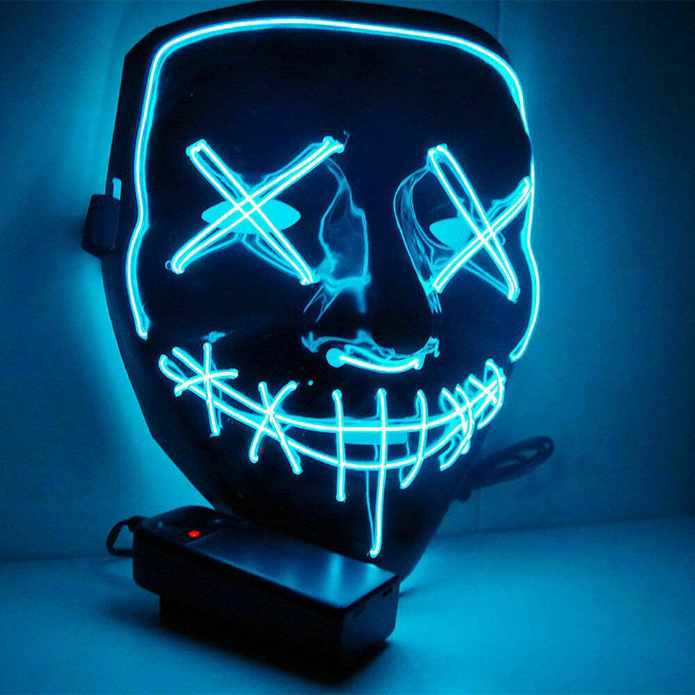 LED Glow Mask Halloween El wire Grimace Costume Light Up Rave Cosplay Party Xmas Club