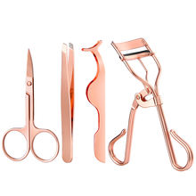 4-pieces Stainless Steel Eyelash Curler Rose Gold Eyelash Applicator Eyebrow Tweezers Set