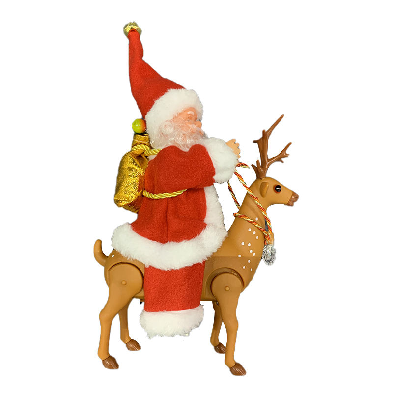 Electric music Santa Claus rides elk electric figurines for children to decorate Christmas gifts