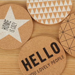 4 pc- Set Geometric and Letter Style Table Decor Coffee Cup Mat Cork Coaster