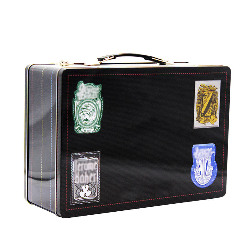 Lunch tin box with handle for metal gift box tin box packaging