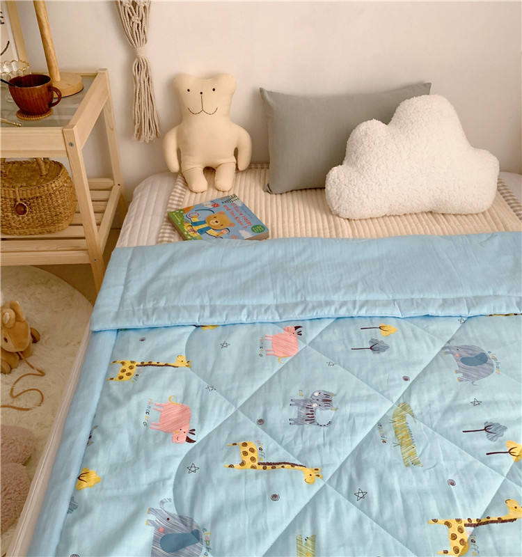 Wholesale 100% Cotton blanket pretty design printed kids comforter set cotton baby quilt