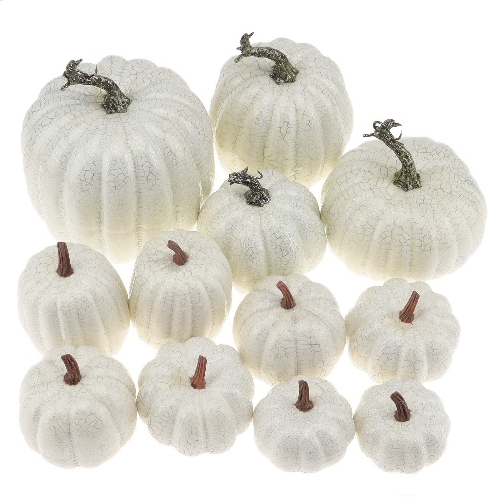 Gresorth Artificial White Pumpkins Wholesale Fake Vegetable Fall Autumn MINI Pumpkin Set Halloween Christmas Holiday Decoration