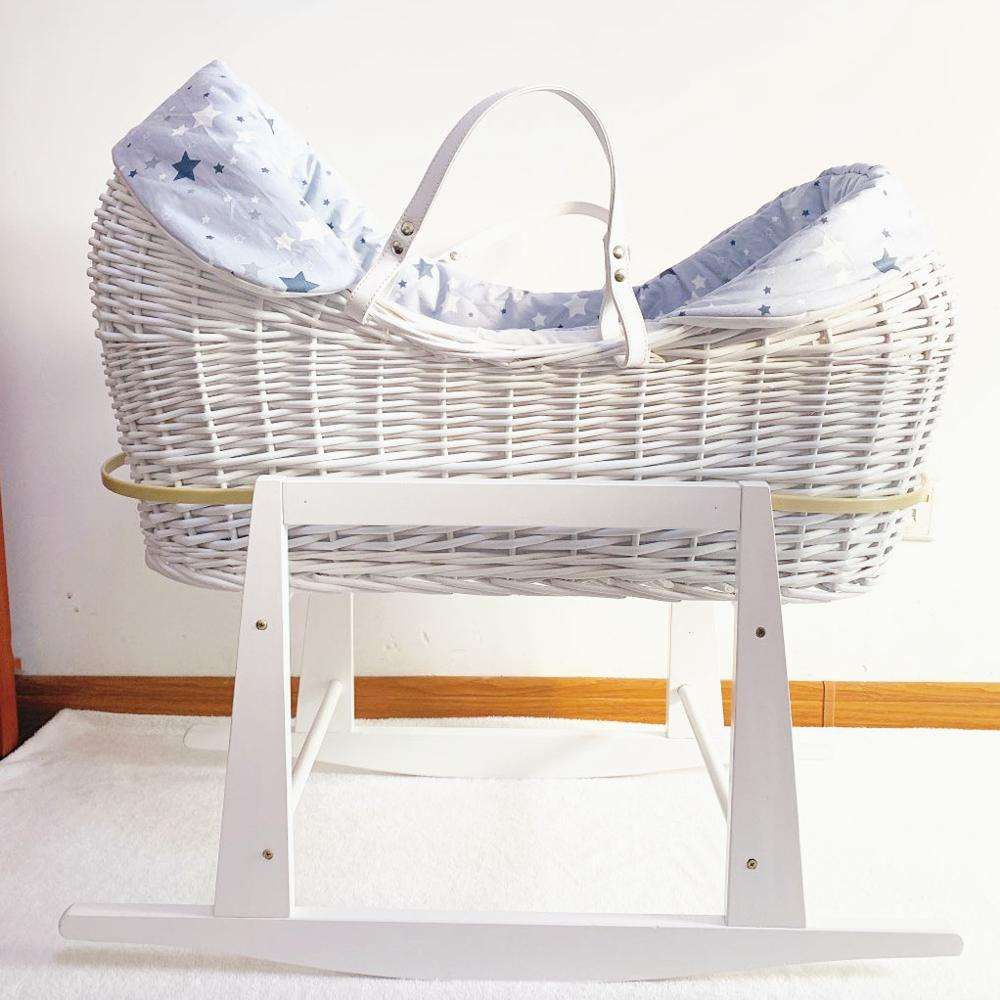 Baby moses basket bassinet with stand wicker baby sleeping basket bassinet with rocking stand