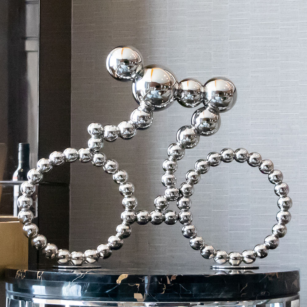 Modern Design art decoration 304 Stainless steel moving bike table sculpture