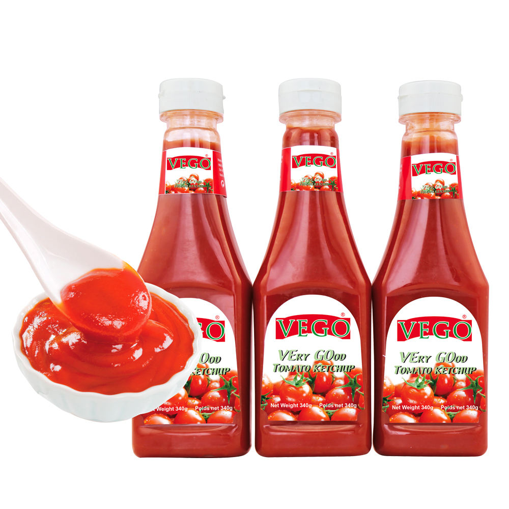 Customized Brand Paper Label 340g*24 bottles/ctn Plastic Tomato Ketchup Popular Size in American Market