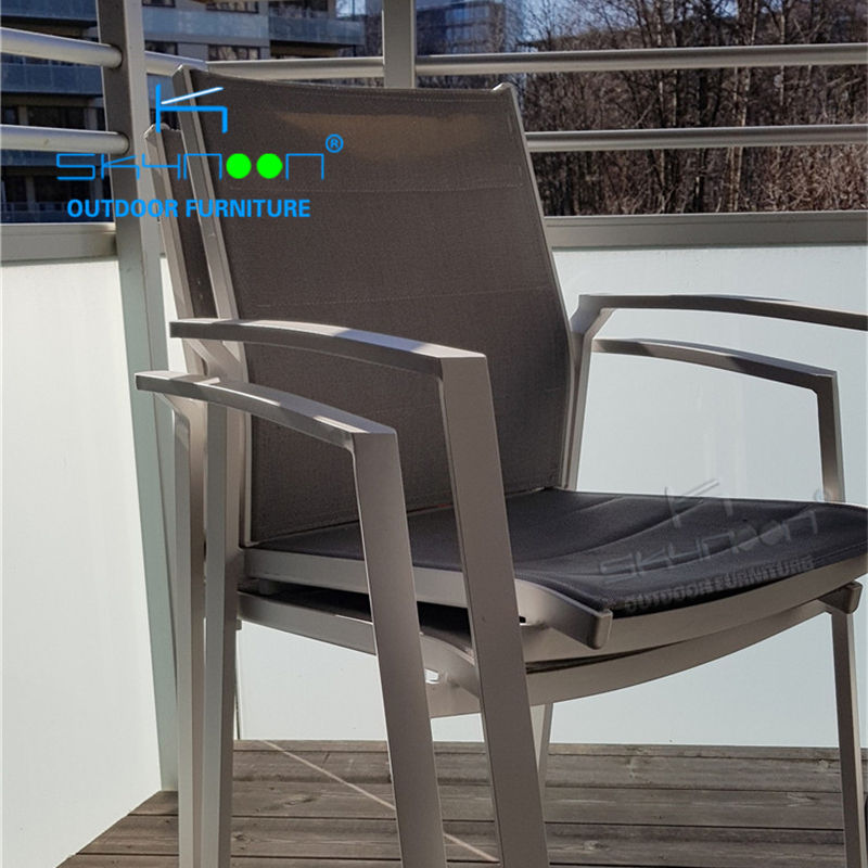 Cheap Hot Sell aluminium outdoor dining chair Patio stackable sling chair China High Quality garden chair(51299A)