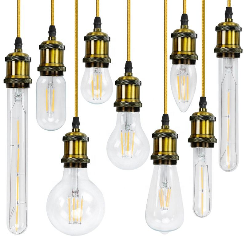 2w 4w 6w 8w 12w 16w 1A60 Lamp led filament bulb, dimmable AC110V 220V 12V led light, all glass E27 E26 E14 filament led lamp