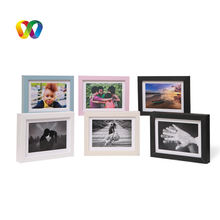 DOUBLE 100 6'' 7'' 10'' Simple Customized Funia Photo Frame Kids Leather Wooden Photo Frames For Sale