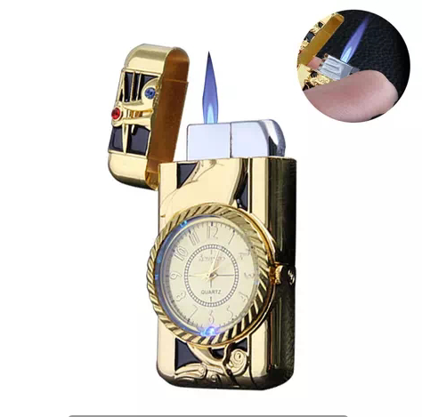 Wholesale Creative LED light windproof watch lighter with diamond , Marquee refillable Cigarette lighters for smoking
