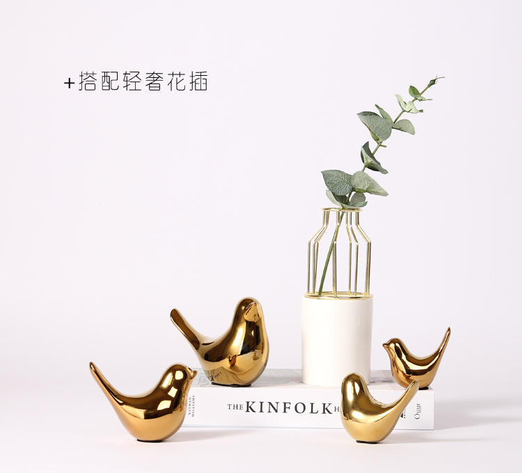 Nordic creative golden ceramic bird furnishing piece of modern simple living room soft desktop decoration