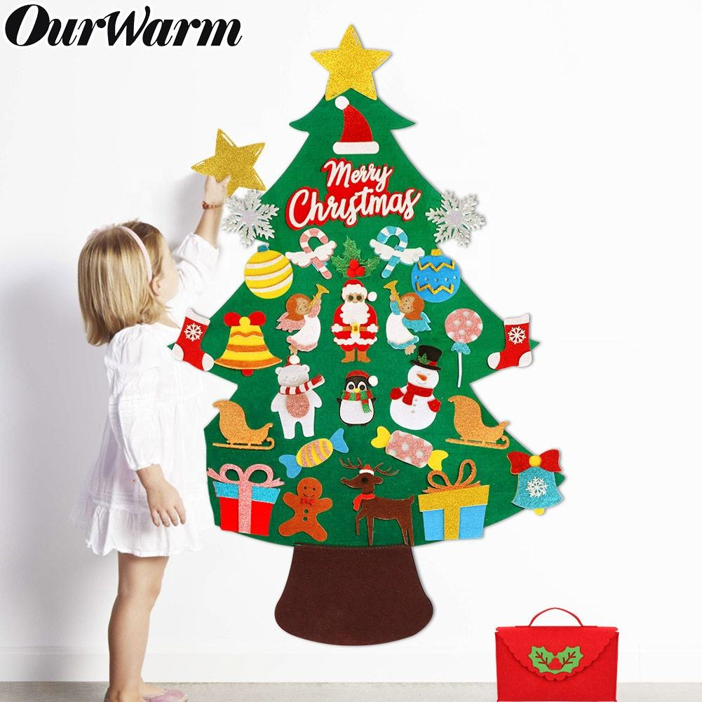 OurWarm Christmas Decoration Supplies 30Pcs Ornaments Glitter Felt Xmas Tree Set Kids DIY Felt Christmas Tree