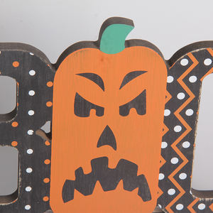 Hollow Carved Boo Tabletop Halloween Decoration Wood Sign