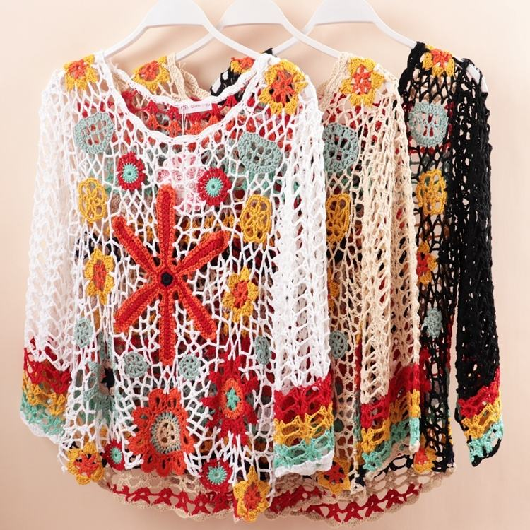 Y8362 Designer dress handmade yarn blouse coverup crochet floral knitwear women hollow beachwear mixed colors swimwear