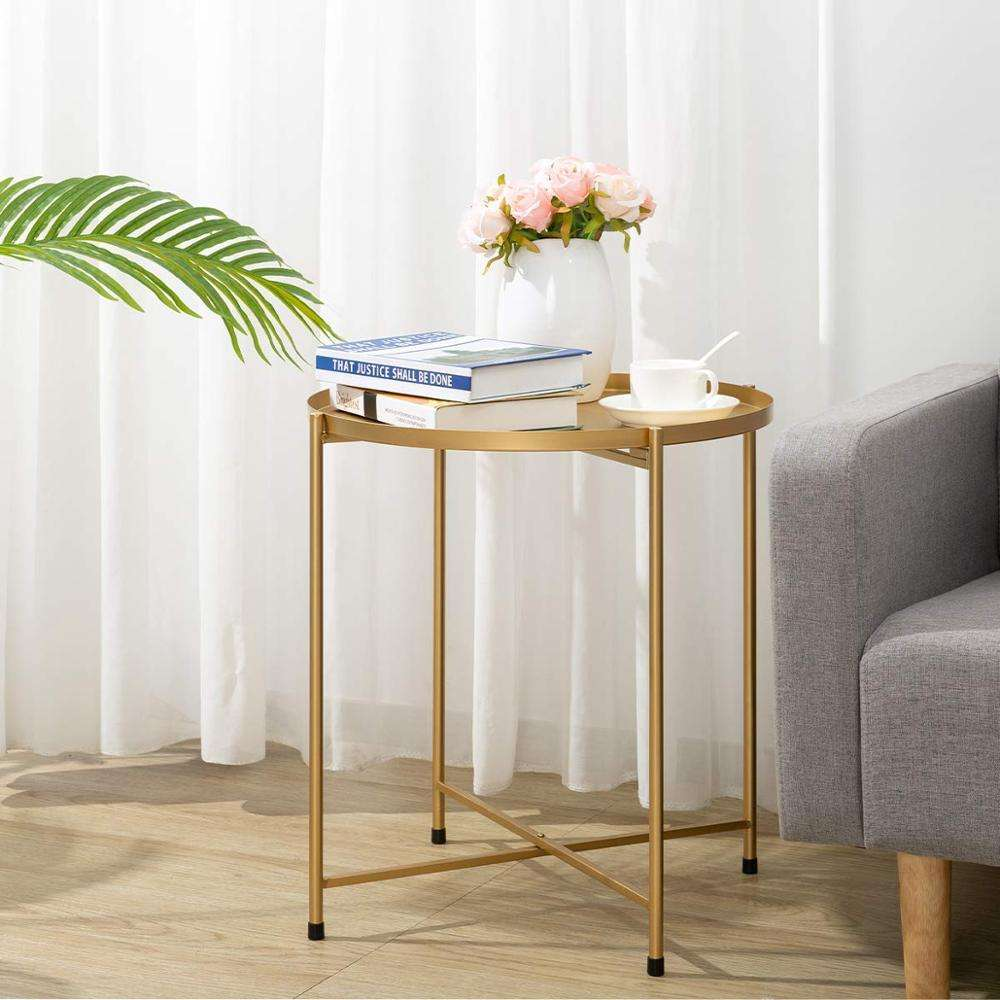 Round Tray Metal End Table Gold Metal Coffee Table for Living Room
