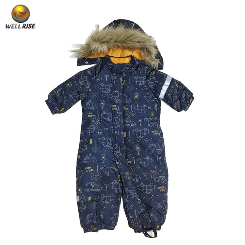 Custom child winter windproof romper keep warm clothes high quality print waterproof coating boy's ski suit