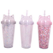 500ml Double Wall Cute Kitty Ear Summer Cup with Straw Reusable Drinking Cup Colorful Plastic Cup