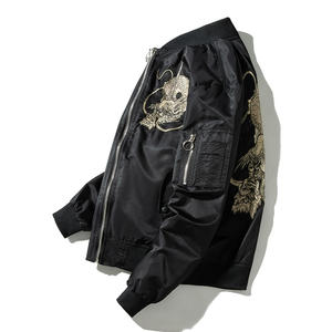 hot selling plain waterproof polyester dragon embroider Men'S bomber Jacket