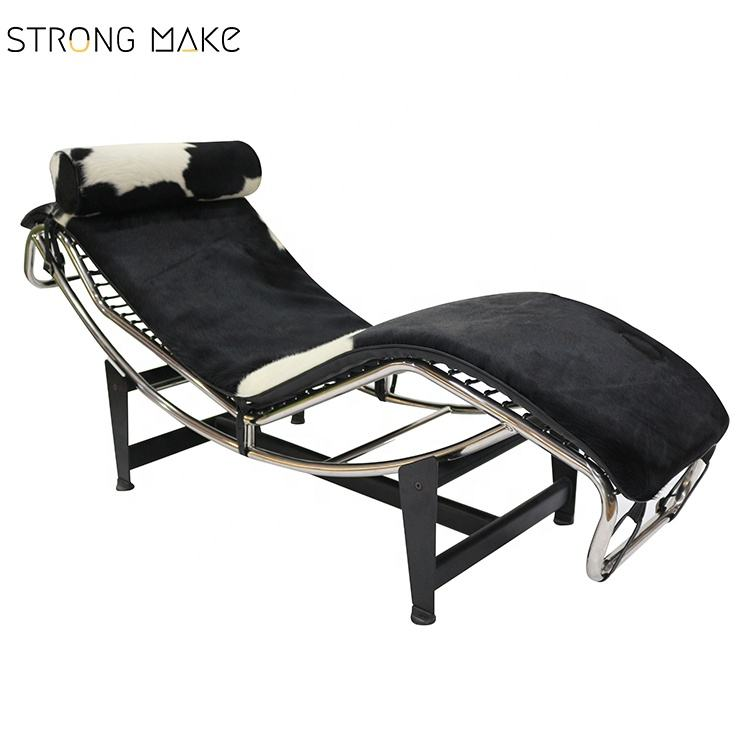 Modern designer design home cowhide furniture Europe style cow leather LC4 chaise lounge chair