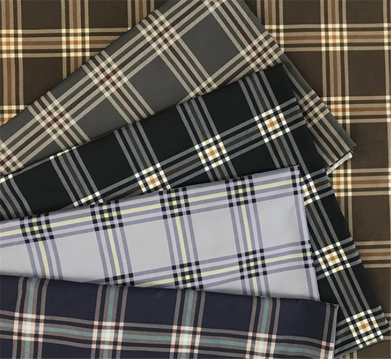 Plaid 100% polyester supplier price taffeta fabrics for jackets