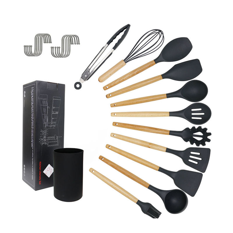 11PCS Kitchen Accessories Silicone Wooden Cooking Utensil Set With Holder