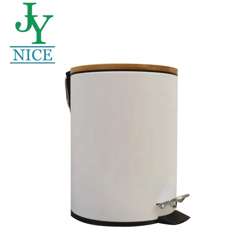 2021 New Design Bamboo Lid Pedal Bin for Kitchen Living Room Step Trash Can with Stainless Steel