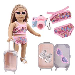 Doll travel suitcase for 18 inch American girl doll with glasses,Swimsuit Tops and panties,shoe,Luggage 5-piece