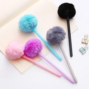 Best Selling Wedding Souvenirs Gifts Pink Pom Pom Fluffy Novelty Pens Colorful Ballpoint Pen School Office Supplies Stationery