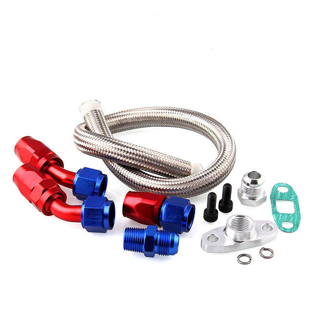 Oil Drain Return Line Kit+10AN Fitting Adapter For Turbo Charger T3/T4 GT45 T04