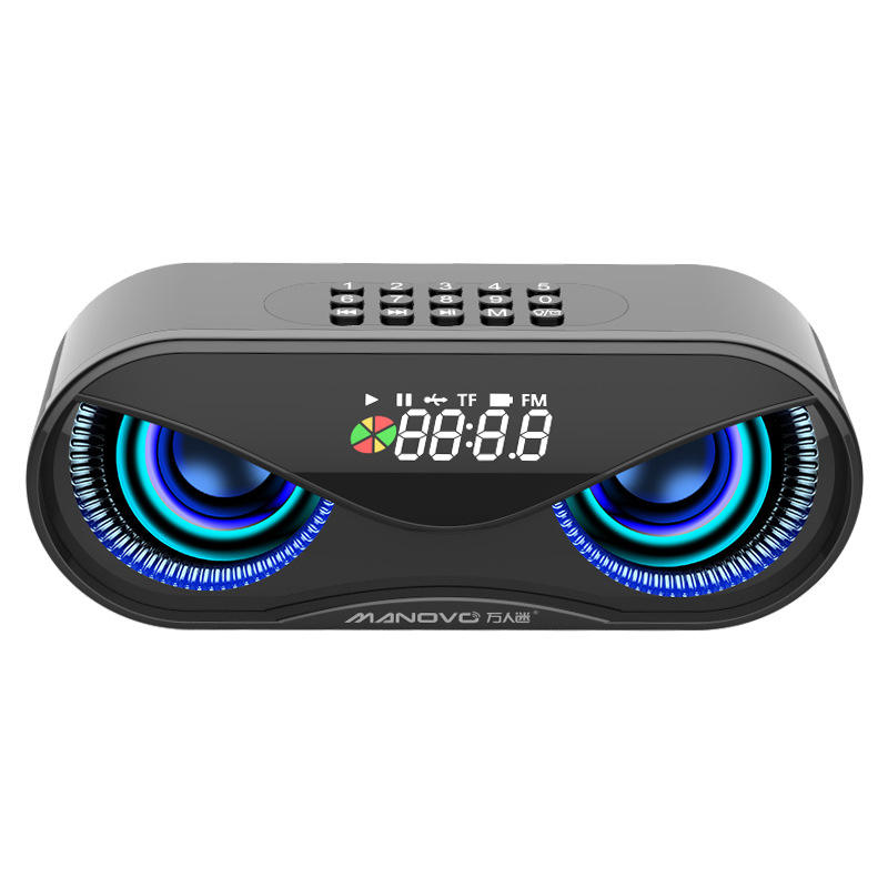 M6 Cool Owl Design Speaker LED Flash Wireless Loudspeaker FM Radio Alarm Clock TF Card Support Select Songs By Number