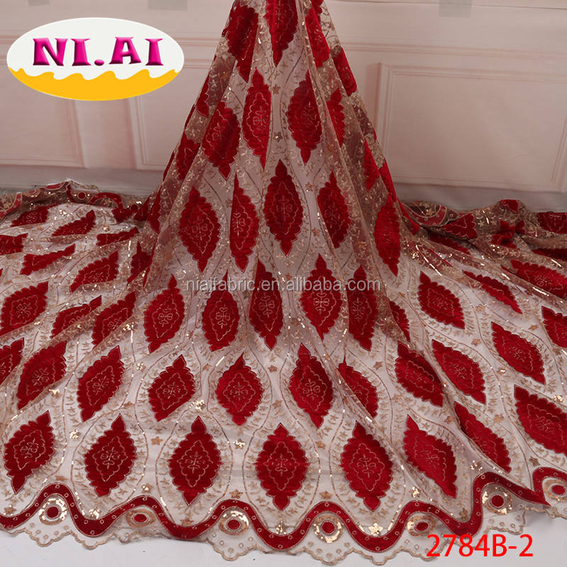 New Coming Nigeria Fabric Velvet Lace For Party Tulle Lace For Fashion Dresses