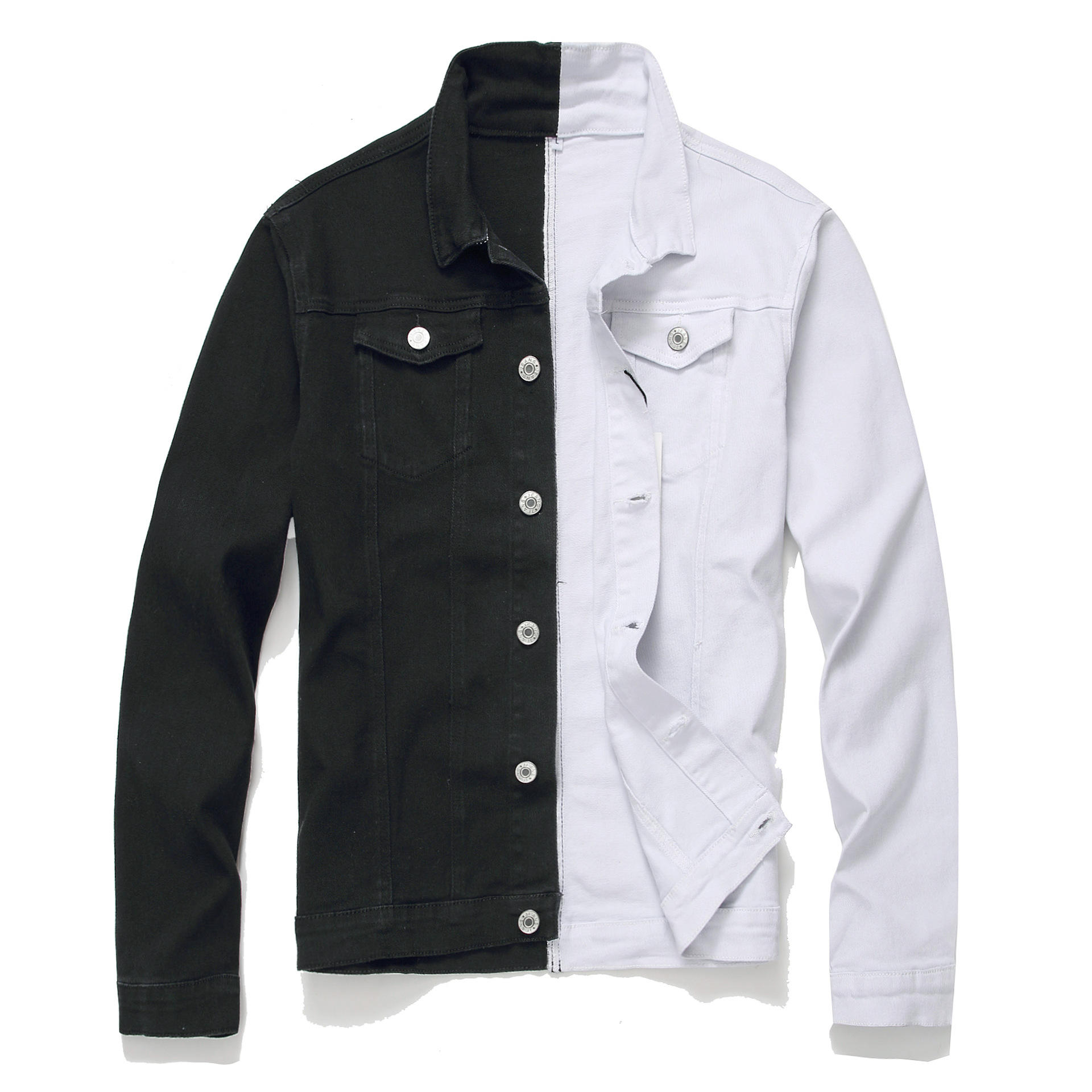sell well Trendy brand men's jacket black and white two-color denim jacket