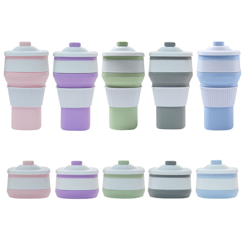 Best Selling 300ml Collapsible Travel Mug Foldable Silicone Reusable Folding Camping Coffee Cup