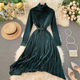 French style autumn winter women fashion velvet maxi dress