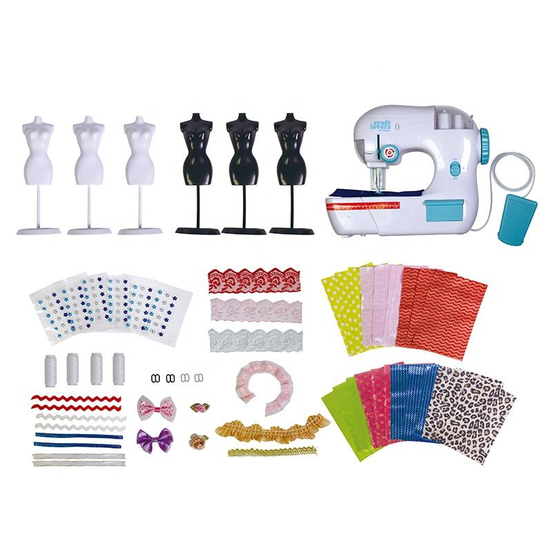 OEM Customized Professional Eco-Friendly Materials B/O Sewing Machine Set Toys Inclued 6 pcs Hanger Suitable For Children