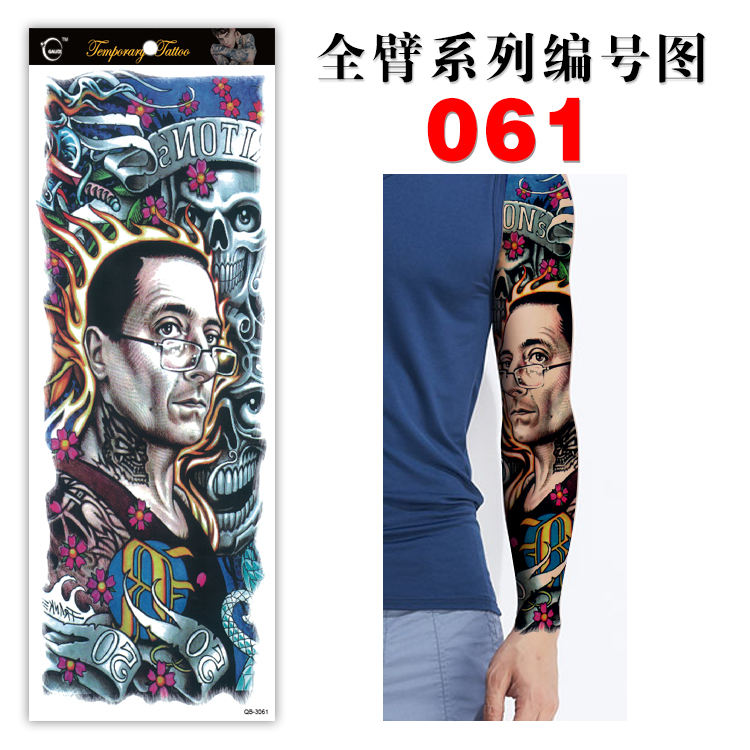 hot sell Popular Water Based Men Fake Full Sleeve Temporary Tattoo Sticker Arm QB61-70