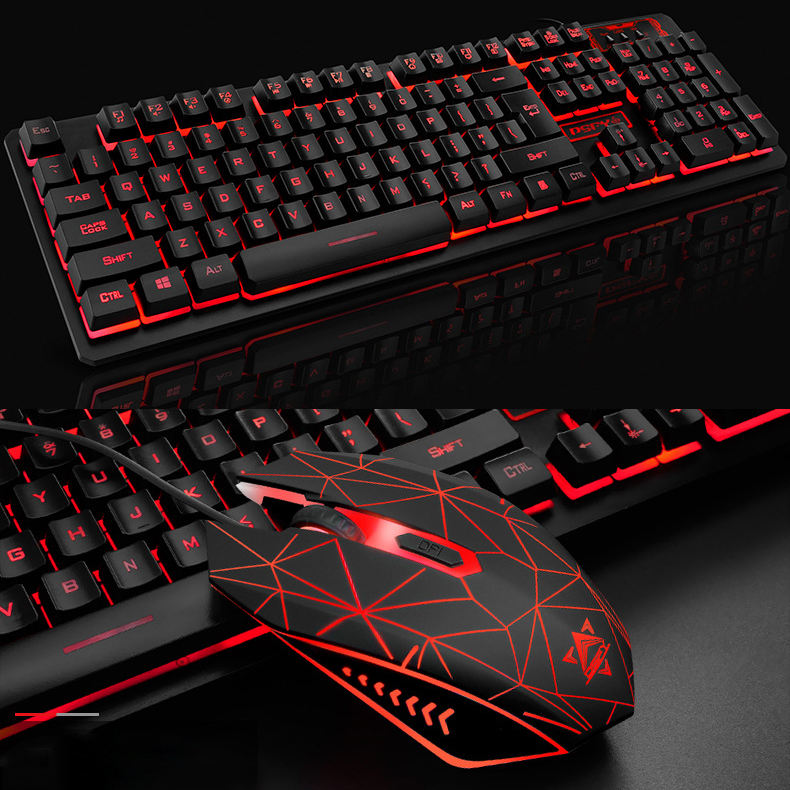 2021 RGB Keyboard and Mouse for Gamer PC Laptop, Wired Gaming with Backlit Ergonomic Mechanical gaming